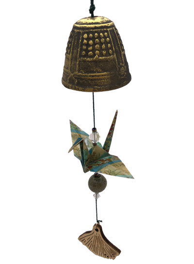 Origami Crane Chime - Gold Bell