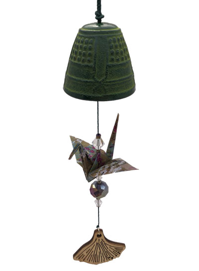 Origami Crane Chime - Green Bell