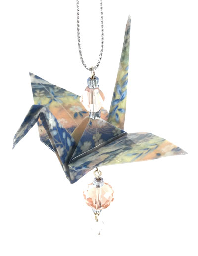 Origami Crane Charm - Baby Blue/Pink - Crystal