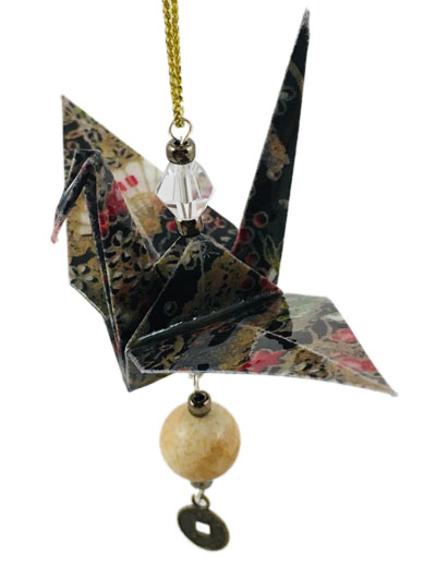 Origami Crane Charm or Chime Black/Brown