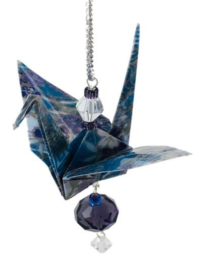 Origami Crane Charm or Chime Blue/Purple - 2