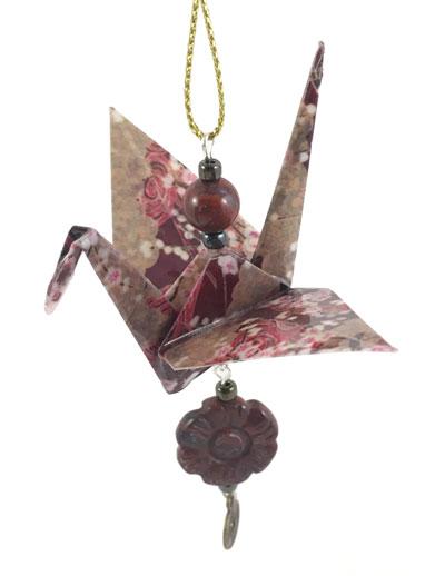 Origami Crane Charm - Burgandy/Gold - Gemstone Flower