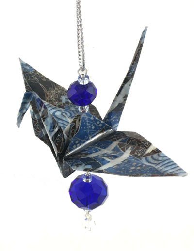 Origami Crane Charm - Dark Blue - Crystal