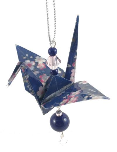 Origami Crane Charm - Dk Blue/Pink - Gemstone