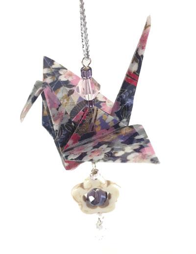 Origami Crane Charm - Dk Purple/Pink- Flower
