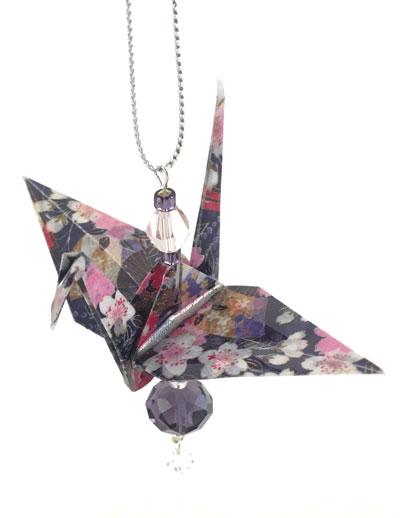 Origami Crane Charm - Dk Purple/Pink - Crystal