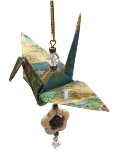 Origami Crane Charm or Chime Gold/Blue