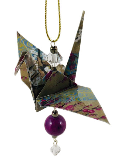 Origami Crane Charm or Chime Gold/Plum