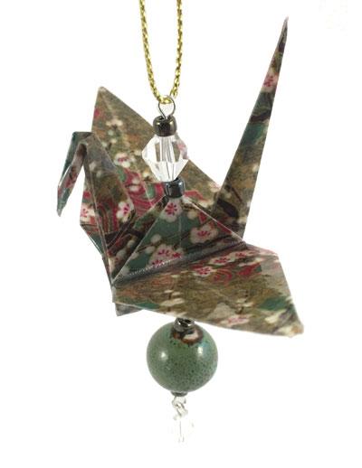 Origami Crane Charm - Green/Gold - Ceramic