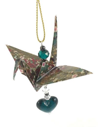 Origami Crane Charm - Green/Gold - Heart