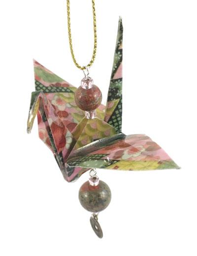 Origami Crane Charm - Green/Pink - Gemstone