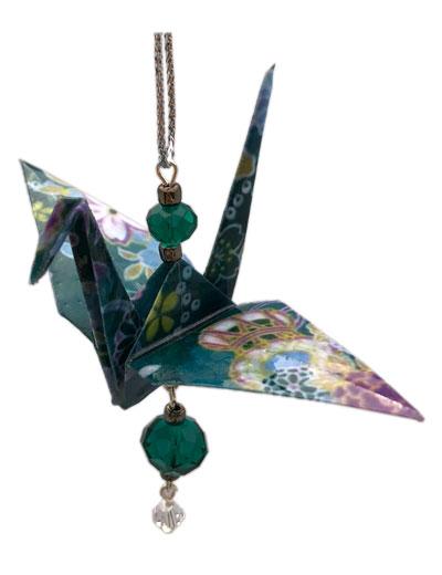 Origami Crane Charm or Chime Green/Purple