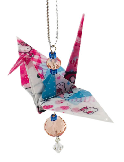 Origami Crane Charm or Chime Hello Kitty