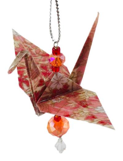 Origami Crane Charm or Chime Orange