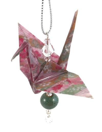 Origami Crane Charm - Pink/Green - Ceramic