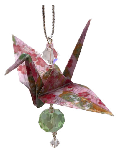 Origami Crane Charm or Chime Pink/Green
