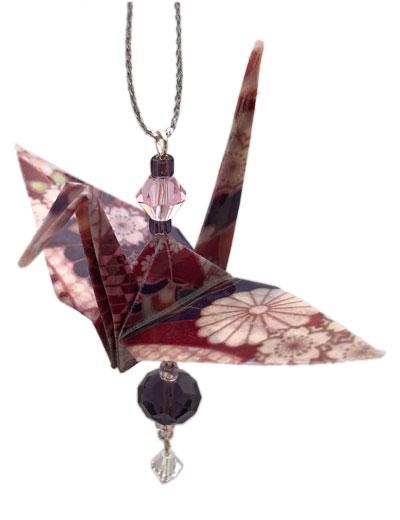 Origami Crane Charm or Chime Plum/Purple