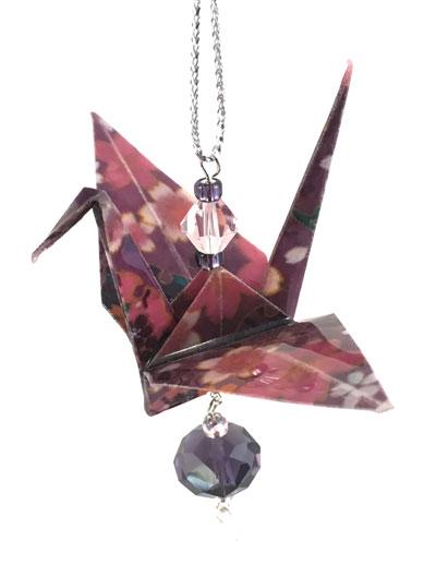 Origami Crane Charm - Purple/Mauve - Crystal