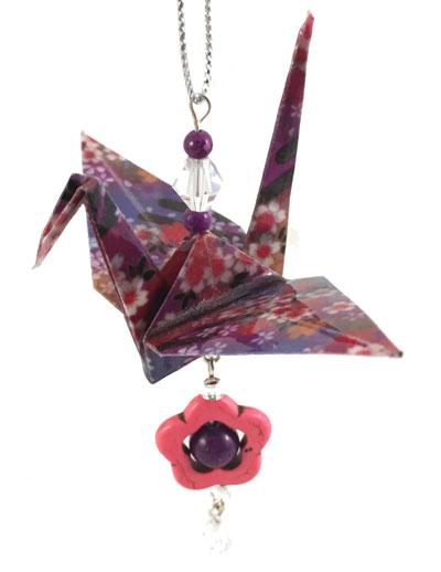 Origami Crane Charm - Purple/Pink - Flower