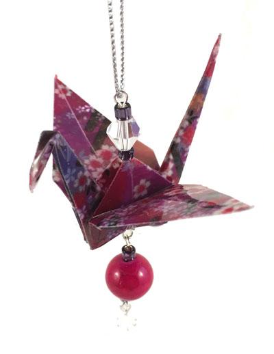 Origami Crane Charm - Purple/Pink - Gemstone