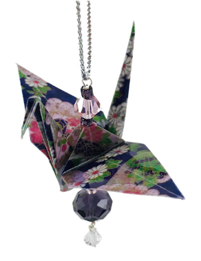 Origami Crane Charm or Chime Purple/Pink - 3