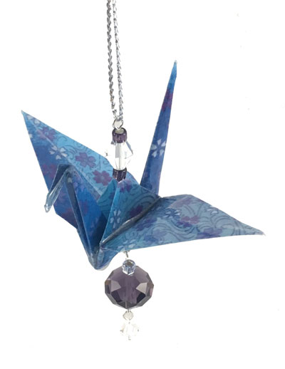 Origami Crane Charm - Blue/Purple - Crystal