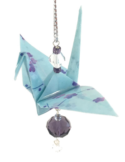 Origami Crane Charm - Baby Blue/Purple - Crystal