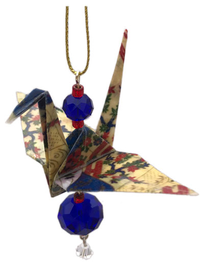 Origami Crane Charm or Chime - Red/Blue