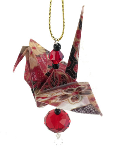 Origami Crane Charm - Red/Gold - Crystal