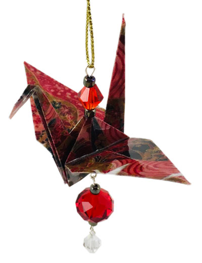 Origami Crane Charm or Chime Red/Gold - 2