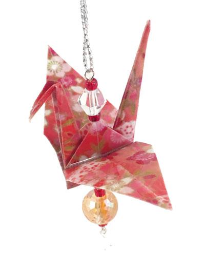 Origami Crane Charm - Red/Orange - Crystal