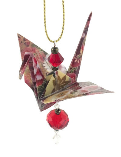 Origami Crane Charm or Chime Ruby/Gold