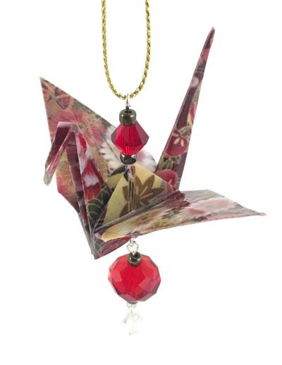 Origami Crane Charm - Ruby/Gold - Crystal