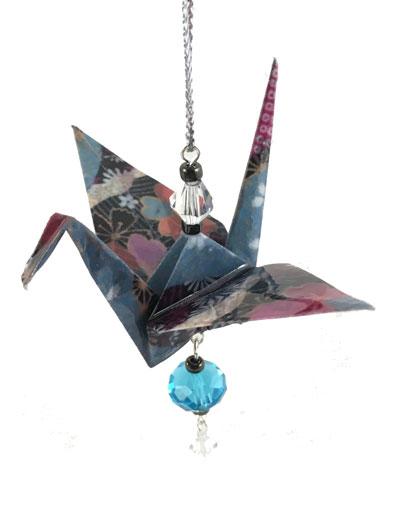 Origami Crane Charm - Teal/Pink - Crystal