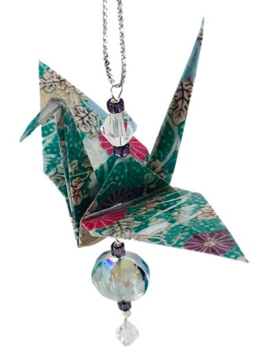 Origami Crane Charm or Chime Teal/Purple