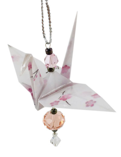 Origami Crane Charm or Chime White/Pink