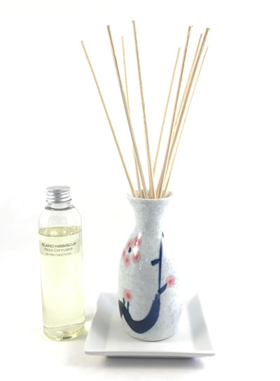 Sake Bottle Reed Diffuser Set - White w/Cherry Blossom