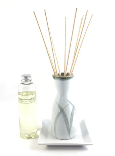 Sake Bottle Reed Diffuser Set - White w/Grass