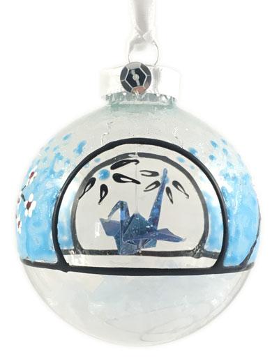 Ornament - Cherry Blossom Crane - Blue