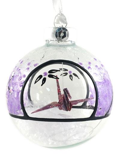 Ornament - Cherry Blossom Crane - Purple
