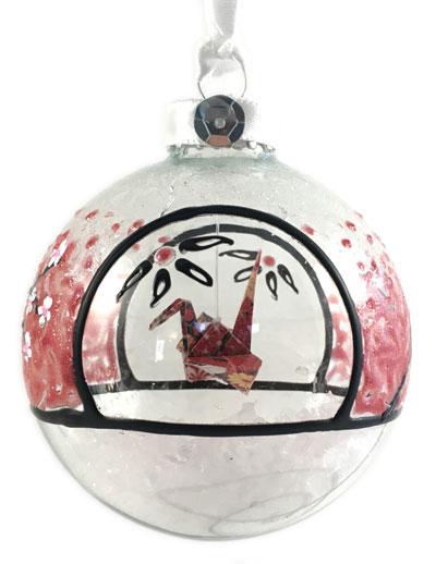 Ornament - Cherry Blossom Crane - Red