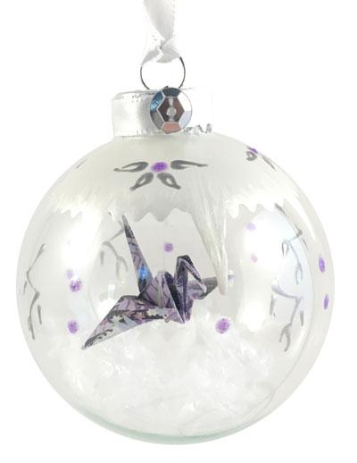 Ornament - Snowy Crane - Purple